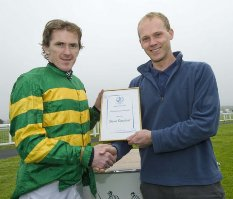 AP McCoy presenting Steve Gardner with BHS Access Achievement Award